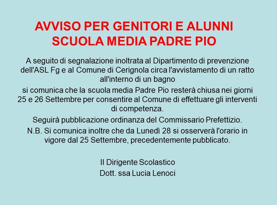 AVVISO CHIUSURA 25 e 26/09 Scuola_PADRE PIO